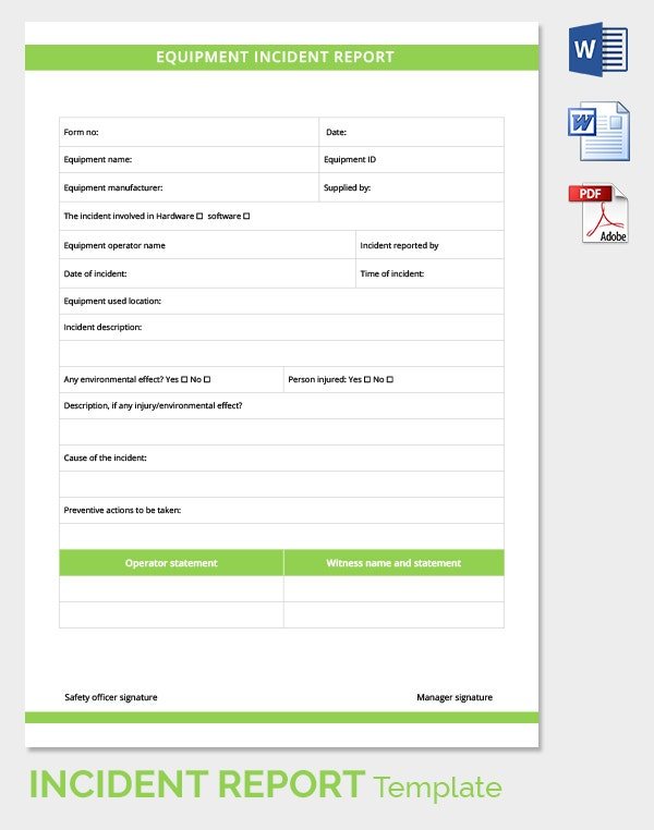 Incident Report Template  Free Sample Example Format  Free