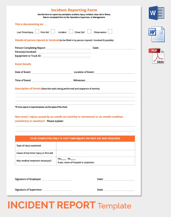 Road Accident Reporting Form Free Download  Free Printable Incident Reports