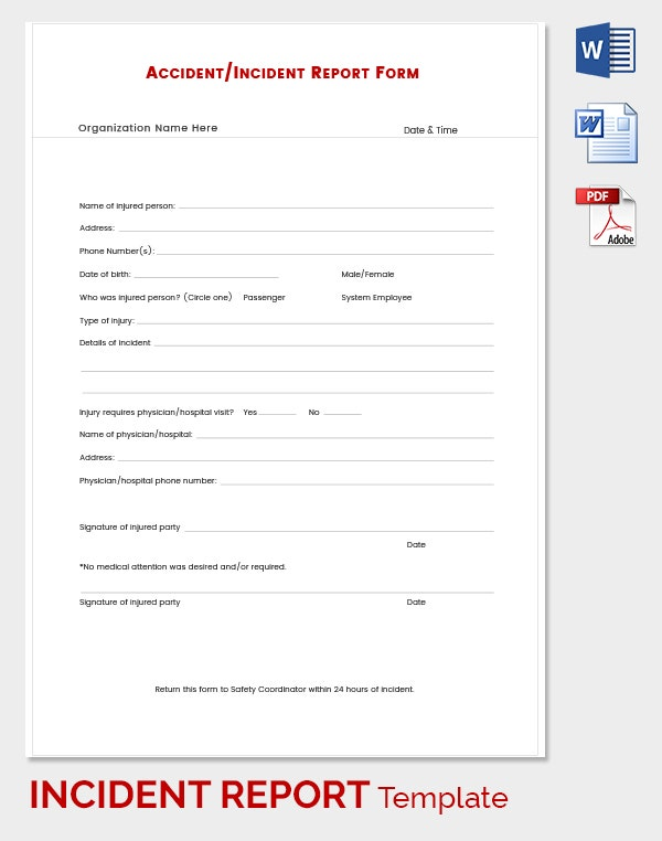 Organizations Personal Incident Report Template  Free Printable Incident Reports