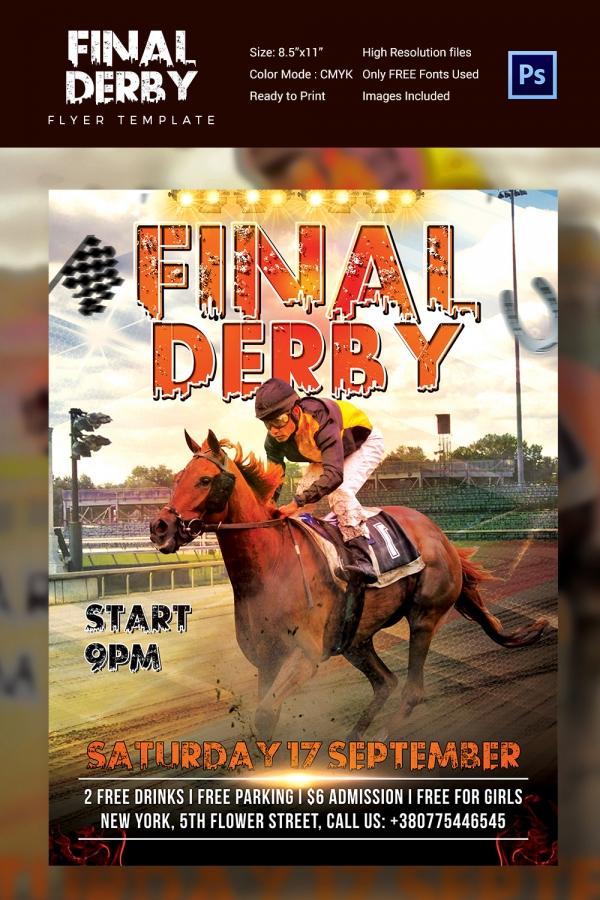 Final Derby Horse Race Flyer