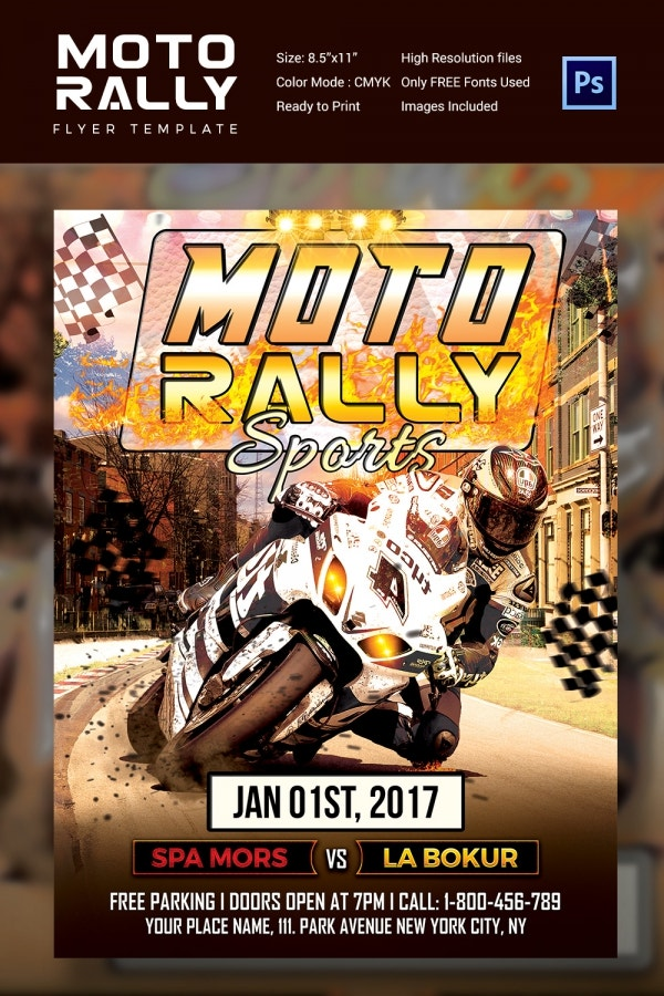 Moto Rally Sports Flyer Template