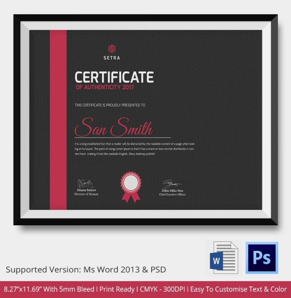Certificate of Authenticity Template 11