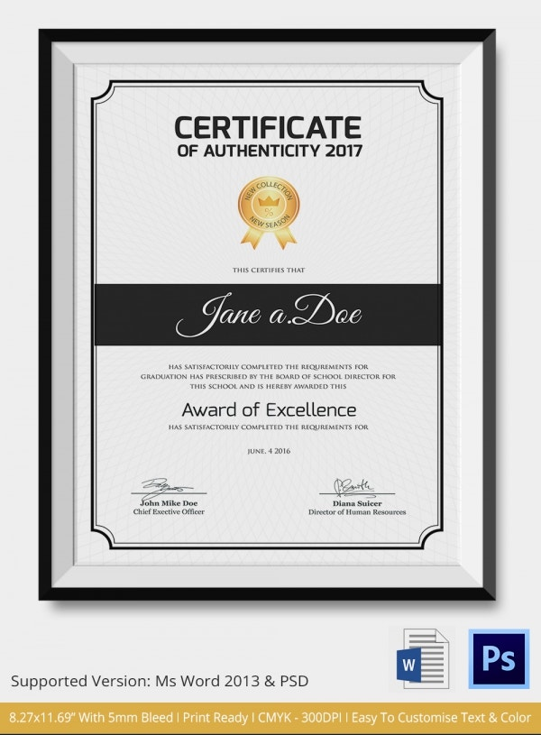 Certificate of Authenticity Template 14