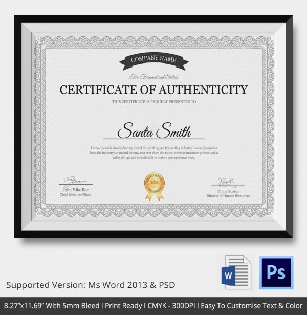 Free printable certificate authenticity template certificate of authenticity template 27 free word pdf yelopaper Gallery