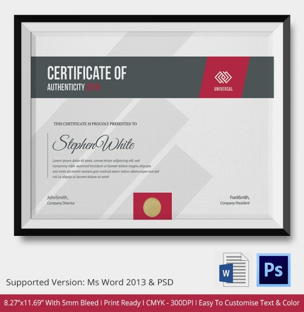 Certificate of Authenticity Template 17