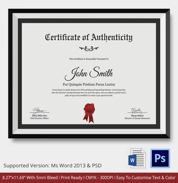 Certificate of authenticity template 27 free word pdf for Free printable certificate of authenticity templates