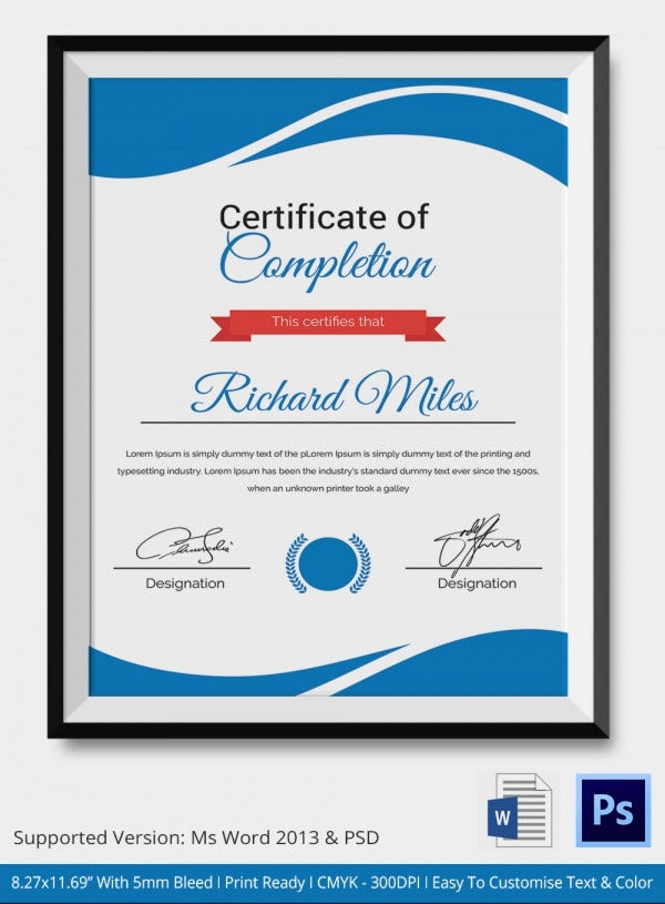 Special Category Certificate of Completion Template