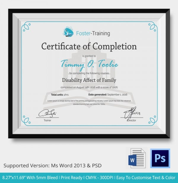 Certificate Of Completion Template - 31+ Free Word, Pdf, Psd, Eps