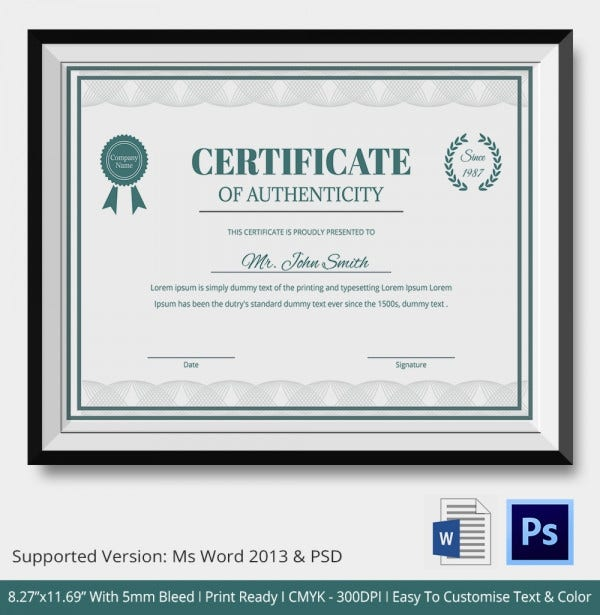 statement of authenticity template - certificate of authenticity template 27 free word pdf