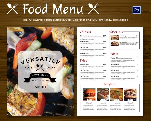 Restaurant Flyer Template 56 Free Word PDF PSD EPS InDesign – Free Food Menu Template
