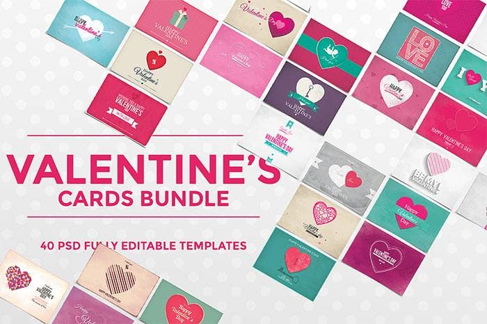 40 cute valentines day cards pack