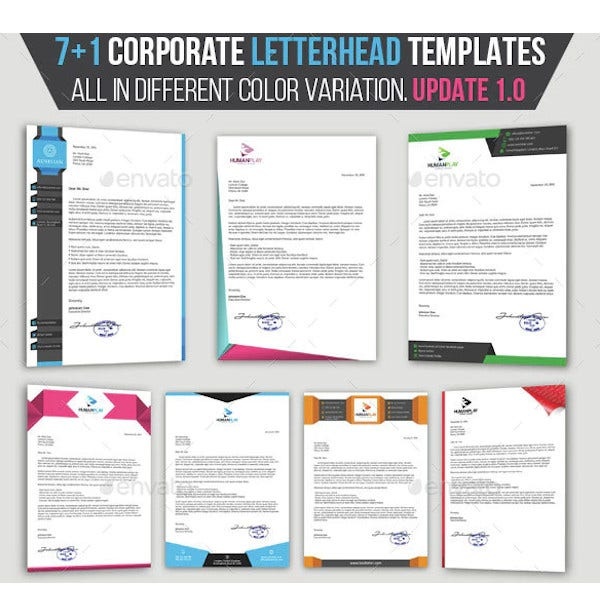 71 corporate letterhead templates pack