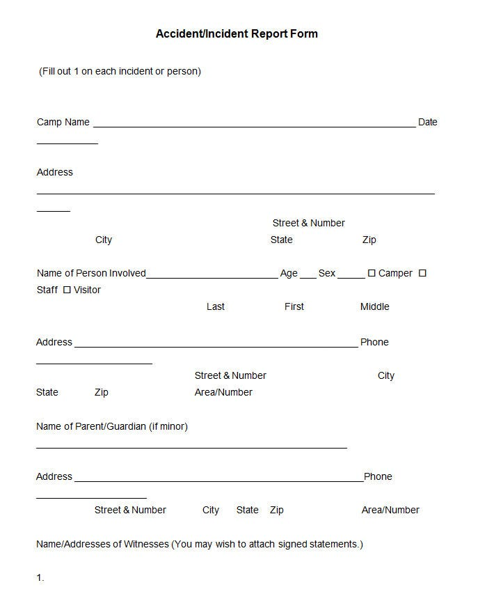 accident incident report form template