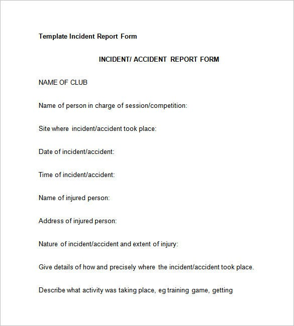 Incident Report Template   Free Word Pdf Format Download  Free