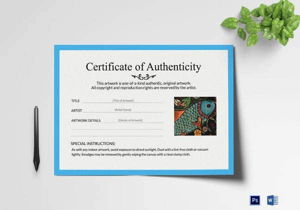 artwork authenticity certificate