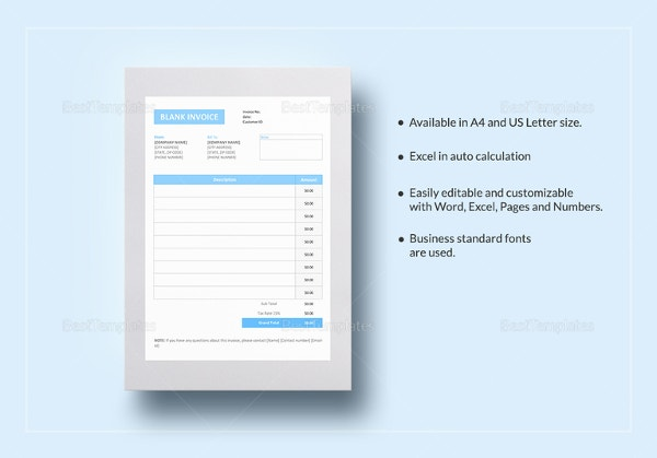 Blank Invoice Templates Free Premium Templates - Psd invoice template