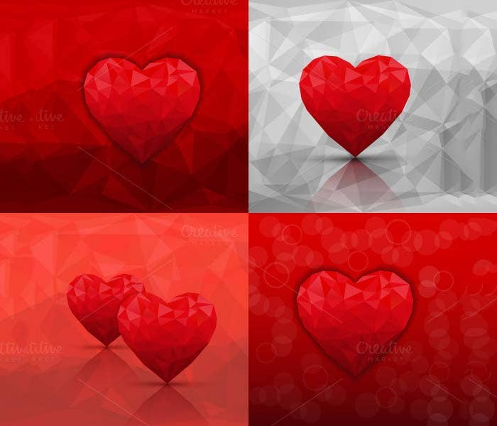 beautiful hearts background sets
