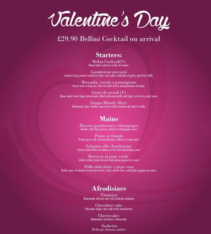 bellini valentines menu