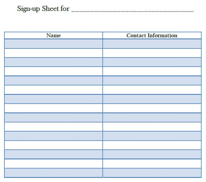blank sign up sheet template