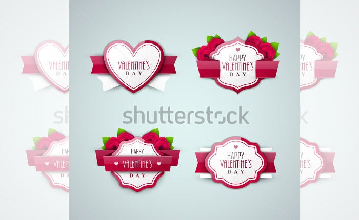 bright valentines day labels