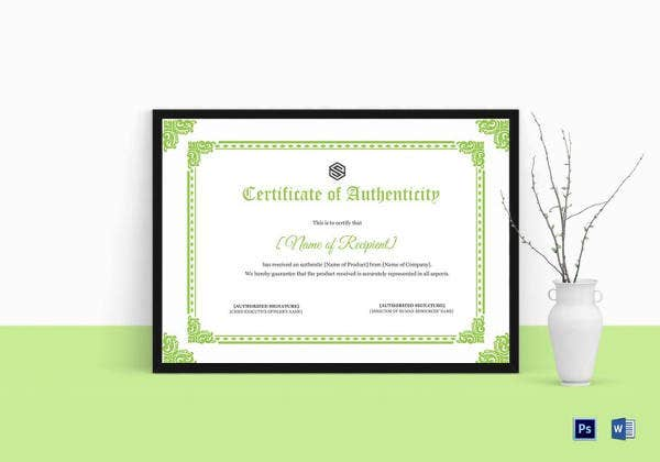 certificate of authenticity template in photoshop