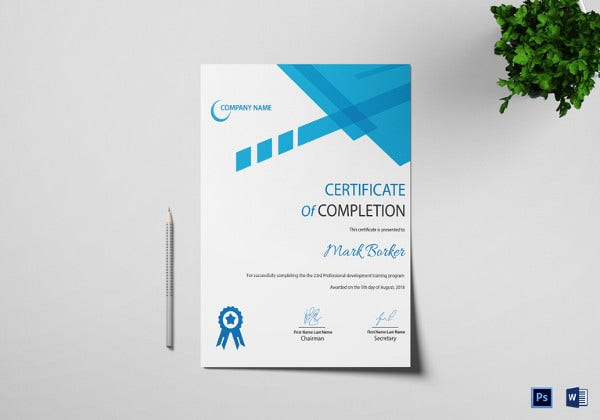 certificate of completion template psd and word format