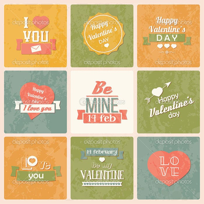 collection of valentine s day vintage labels
