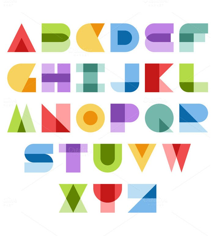 colorful abstact font