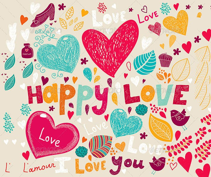 colourful valentine greeting card