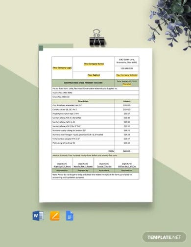 construction check payment voucher template