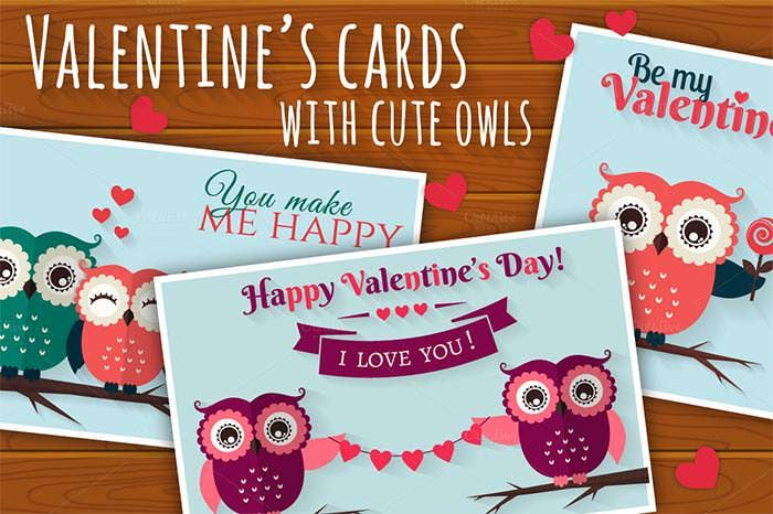 cute owls valentines cards