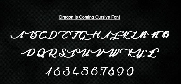 dragon is coming cursive font