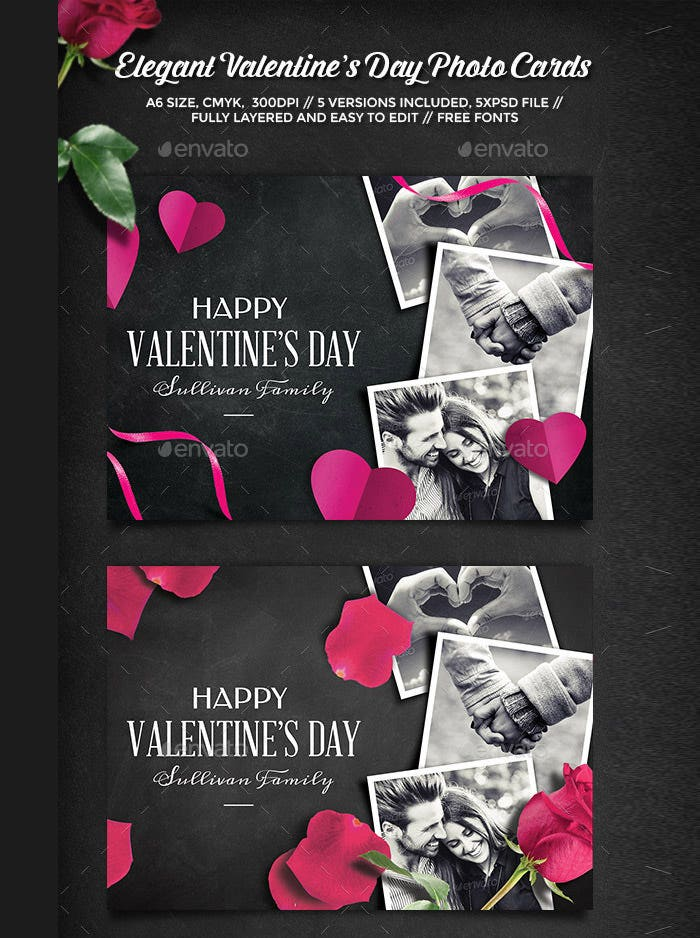elegant valentines day photo cards