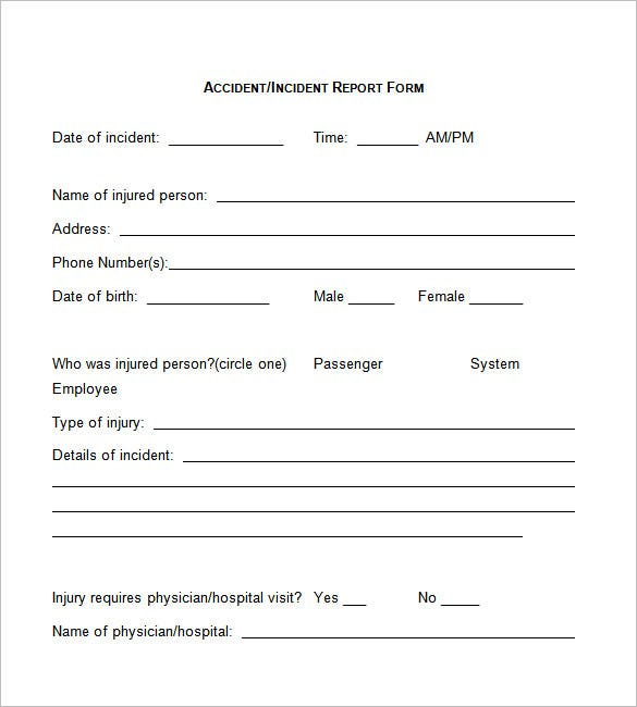 Incident Report Template  Free Printable Incident Reports