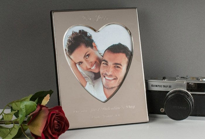 engraved heart photo frame