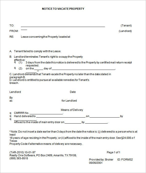 Eviction Notice Form. Free Download  Free Printable Eviction Notices
