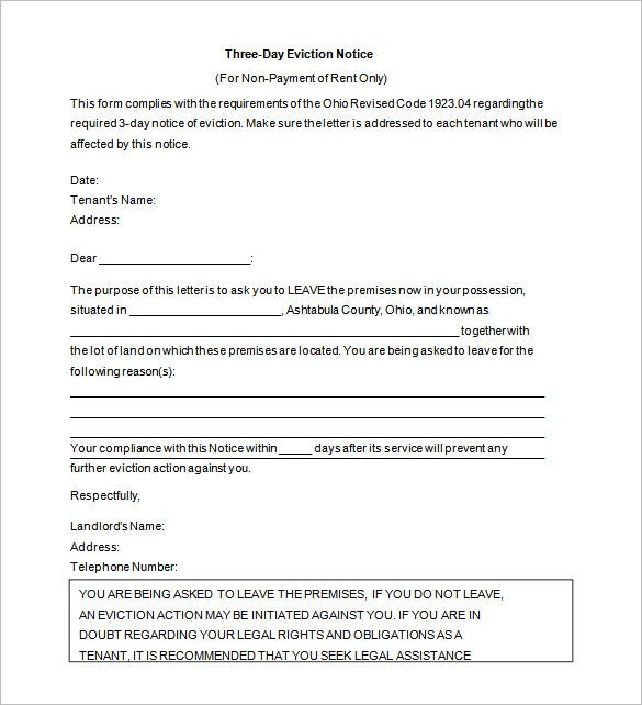 Eviction Notice Letter Template. Free Download  Free Eviction Template