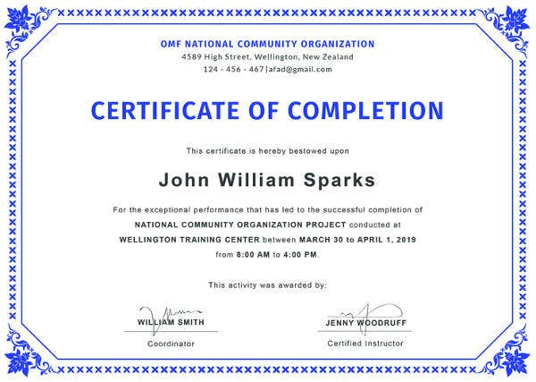 Editable certificate of completion template sample #2743.