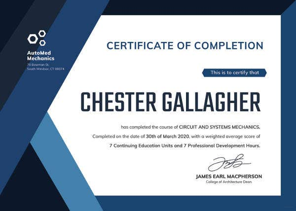 free dealership completion certificate template