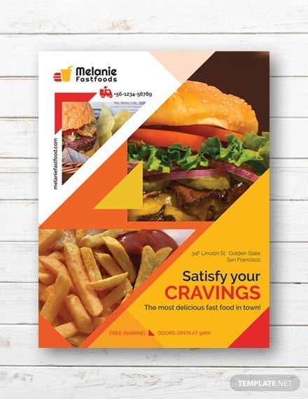 free delicious fast food flyer template