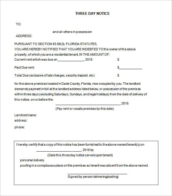 Free Eviction Notice Template For 3 Days  Free Notice To Vacate