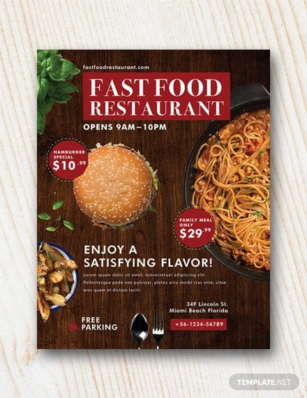 free fast food restaurant flyer template