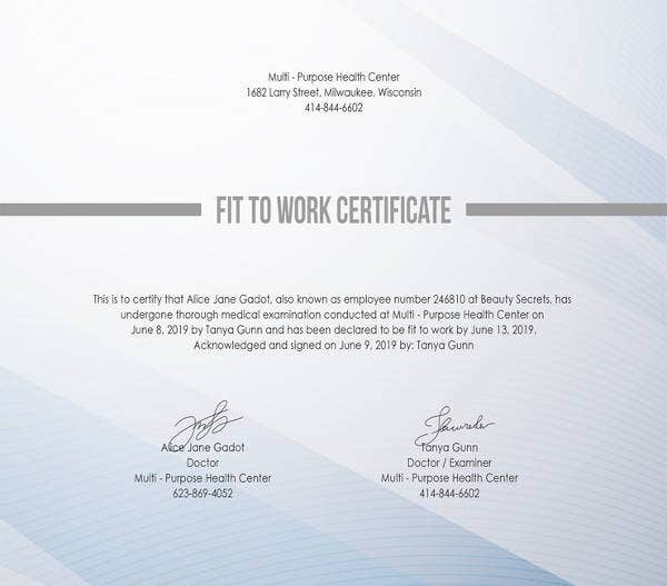 free fit to work certificate template