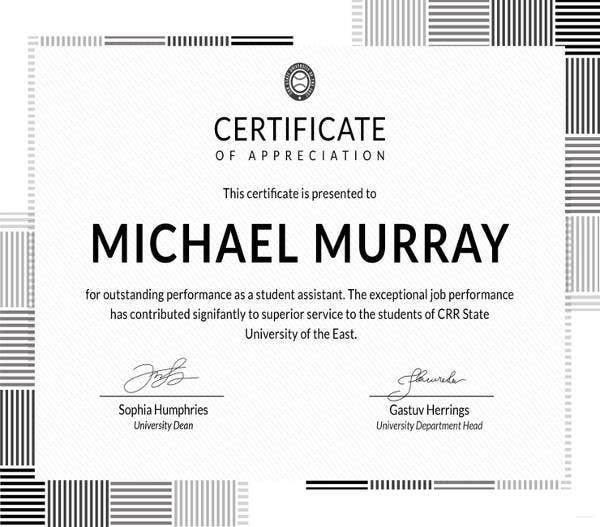 free formal certificate of appreciation template