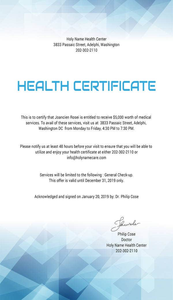 free health certificate templatefree download