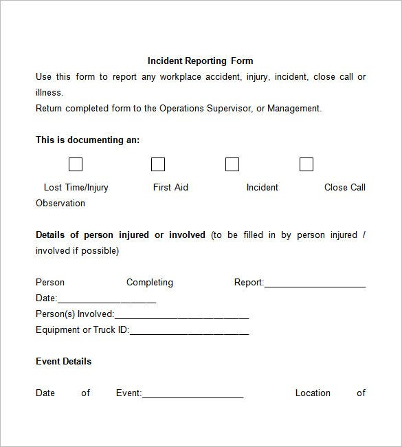 Free Incident Report Template  Injury Incident Report Template