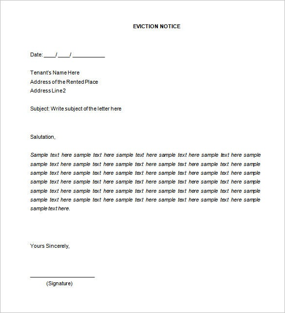 Eviction Notice Template 20 Free Word PDF Documents Download – Eviction Letter Template Uk