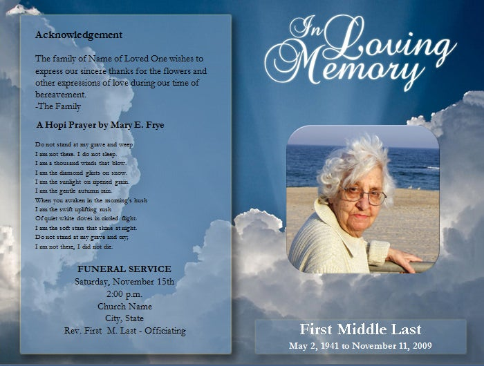 Free funeral service program template word for Free funeral service program templates