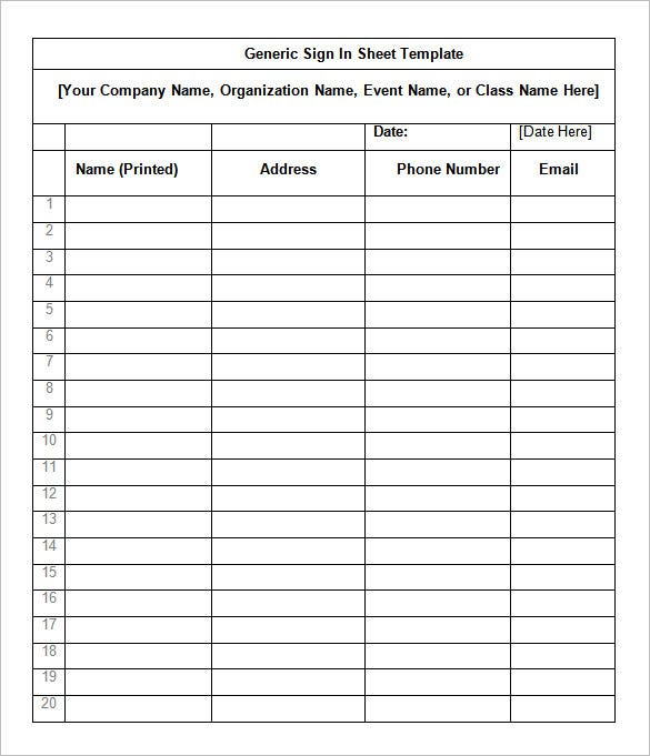 Editable Sign In Sheet - Calendar