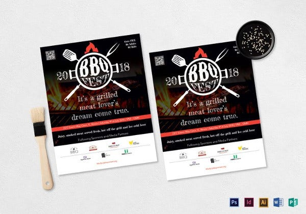 grilled barbecue fest flyer template